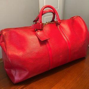 Louis Vuitton Keepall 55, Epi, Castilian Red